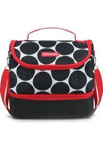 Bolsa Térmica Poá Com Bolso- Preta Vermelha- 19,5Xjacki Design