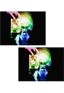 Jogo Americano Colours Creative Photo Decor - Raio-X Caveira Fotógrafo Colorida - 2 Peças