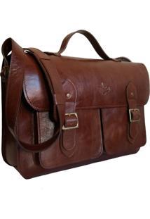 Bolsa Line Store Leather Satchel Pockets Grande Couro Marrom Avermelhado. - Marrom - Dafiti