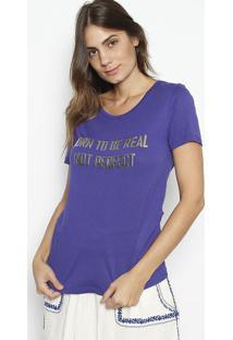 """Camiseta """"Born To Be Real"""" Com Linho - Azul Escuro & Pracanal"""
