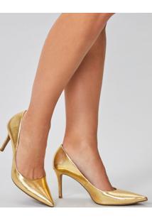 Amaro Feminino Scarpin Metalizado, Dourado