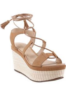 Sandália Plataforma Acamurçada- Marrom Claroarezzo & Co.