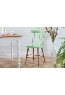 Cadeira De Jantar Folk Verniz Jatobá E Verde Sálvia 45X46X83Cm