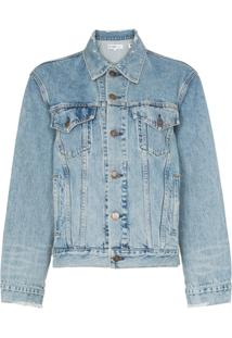 Re/Done Perfect Boxy Fit Distressed Detail Denim Jacket - Azul