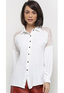 Camisa Extin Manga Longa C/ Renda Feminina - Feminino-Branco