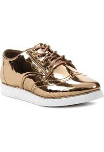 Sapato Oxford Feminino Metálico Cobre - Feminino-Cobre