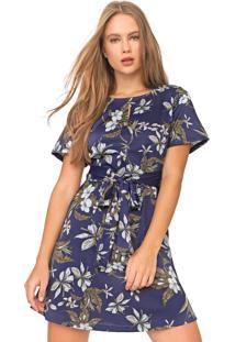 Vestido Fiveblu Curto Floral Azul-Marinho