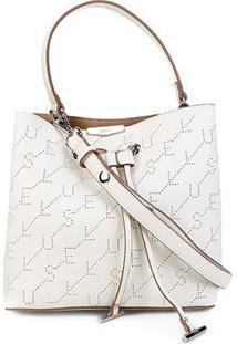 Bolsa Ellus Saco Bucket Bag Monograma Feminina - Feminino-Branco