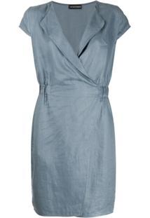 Emporio Armani Vestido Mangas Curtas - Azul
