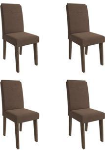 Conjunto Com 4 Cadeiras De Jantar Taís I Suede Marrocos E Chocolate