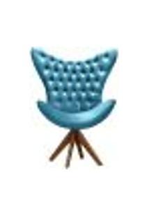 Poltrona Decorativa Egg Com Capitonê Strass Pé Giratório De Madeira - Veludo Azul