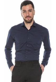 Camisa Hugo Rossi Maquinetada Azul Escuro - Masculino