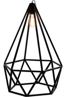 Luminaria Pendente Lume Estrutura Quadrado De Ferro Cor Preto 0,57 Cm (Alt) 54063 - Sun House