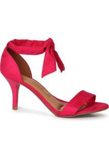 Sandália Salto Feminina Vizzano Nó Camurça Pink