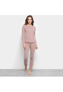 Pijama Flora Zuu Longo Estampado 2 Peças Feminino - Feminino-Branco+Vermelho