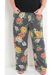 Calça Pantalona Floral Poá Plus Size
