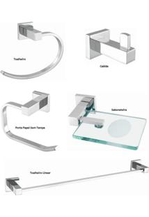 Kit Acessórios Para Banheiro Com 5 Peças Meber Athena 500 C 34 Cromado