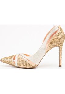 Scarpin Invoice Branco/Dourado