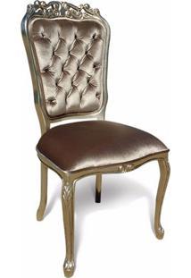 Cadeira Luís Xv Capitonê Entalhada Madeira Maciça Design De Luxo