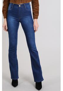 472da50de ... Calça Jeans Feminina Sawary Flare Azul Médio