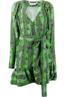 Rotate Vestido Nancy Com Estampa De Cobra - Verde