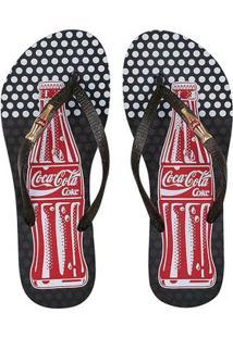 Chinelo Coca-Cola Bottle Poa Feminino - Feminino-Preto