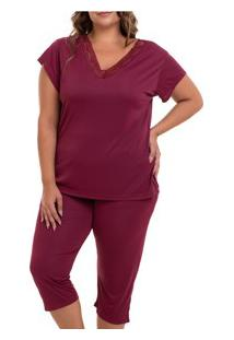 Pijama Capri Liganete (2470) Vinho - Plus Size