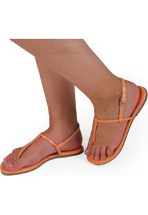 Sandalia Rasteira Mercedita Shoes Verniz Papaya Laranja Ultra Macia