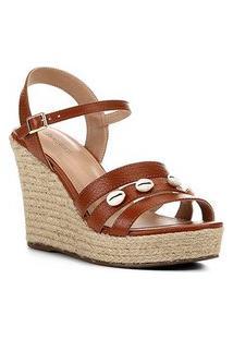 Sandália Couro Anabela Shoestock Buzios Feminina