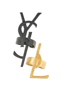 Saint Laurent Conjunto Dois Anéis Com Logo - Metálico