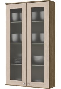 Cristaleira De Cozinha Aéreo 2 Portas 70Cm Space Henn Rústico/Fendi