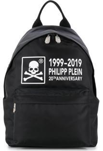 Philipp Plein Mochila Com Logo E Detalhe De Caveira - Preto