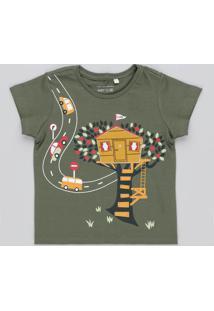 Camiseta Infantil Com Estampa Interativa De Casa Manga Curta Gola Careca Verde Militar