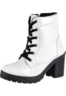 Bota Feshion Sapatofranca Ankle Boot Salto Mã©Dio Com Cadarã§O Branca - Branco - Feminino - Dafiti