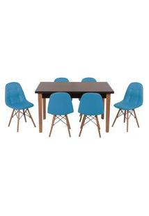 Conjunto Mesa De Jantar Luiza 135Cm Preta Com 6 Cadeiras Botonê - Turquesa