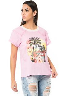 T-Shirt Moikana Estampada Com Detalhe Rosa