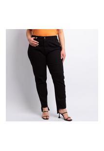 Calça Plus Size Skinny Feminina Lavagem Escura Jeans