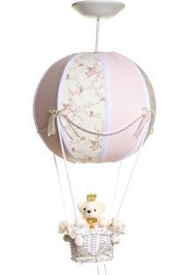 Lustre Balão Bolinha Ursinha Princesa Quarto Bebê Infantil Menina Potinho De Mel Rosa - Kanui