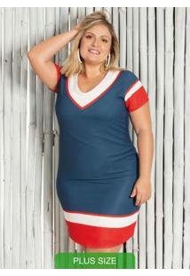 Vestido Plus Size Curto Com Decote V Azul