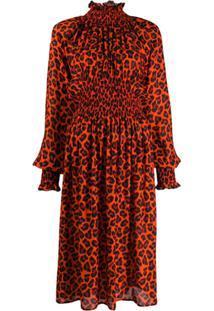 Msgm Vestido Animal Print Com Mangas Bufantes - Vermelho
