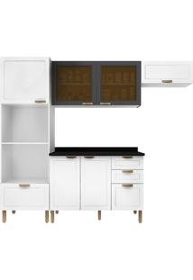 Cozinha Modulada 5 Peças Com Tampo E Nevada 5670Vdtp-Multimóveis - Branco Premium / Branco Premium / Grafite Premium