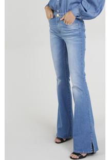 ec61413fb Calça Com Fendas Jeans feminina. Calça Jeans Flare Mindset Com Fendas Azul  Médio