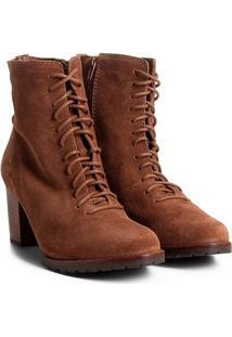 Bota Couro Coturno Shoestock Tratorada Feminina - Feminino