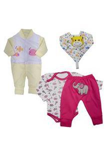 Body Estampado Saída Maternidade Enxoval Para Bebê Kit 4 Pçs Rosa