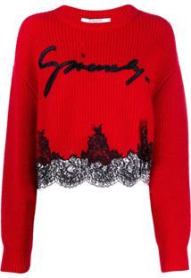 Givenchy Suéter Com Detalhe De Renda - Vermelho