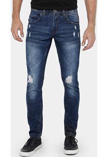 Calça Jeans Skinny Rock & Soda Stone Puídos Masculina - Masculino