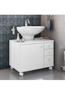 Gabinete Para Banheiro Albatroz Mimo 1 Porta 3 Gavetas Branco
