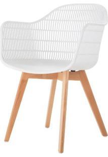 Cadeira Com Bracos Angelita Branca Pes Madeira - 50047 - Sun House