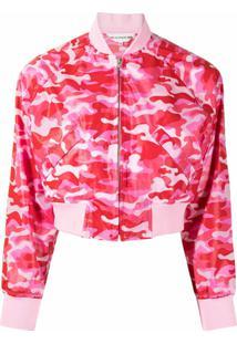 Comme Des Garçons Girl Jaqueta Bomber Cropped Camuflada - Rosa