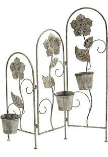 Floreira Decorativa- Cinza & Dourada- 96X33X20Cmbtc Decor